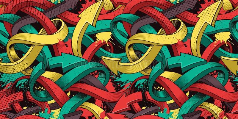 Sömlös bakgrund med färgrika grafittipilar av konst vektor illustrationer