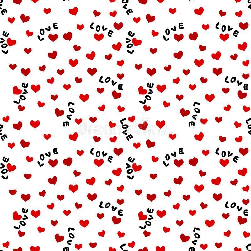 Sömlös bakgrund med förälskelseord och hjärtor stock illustrationer