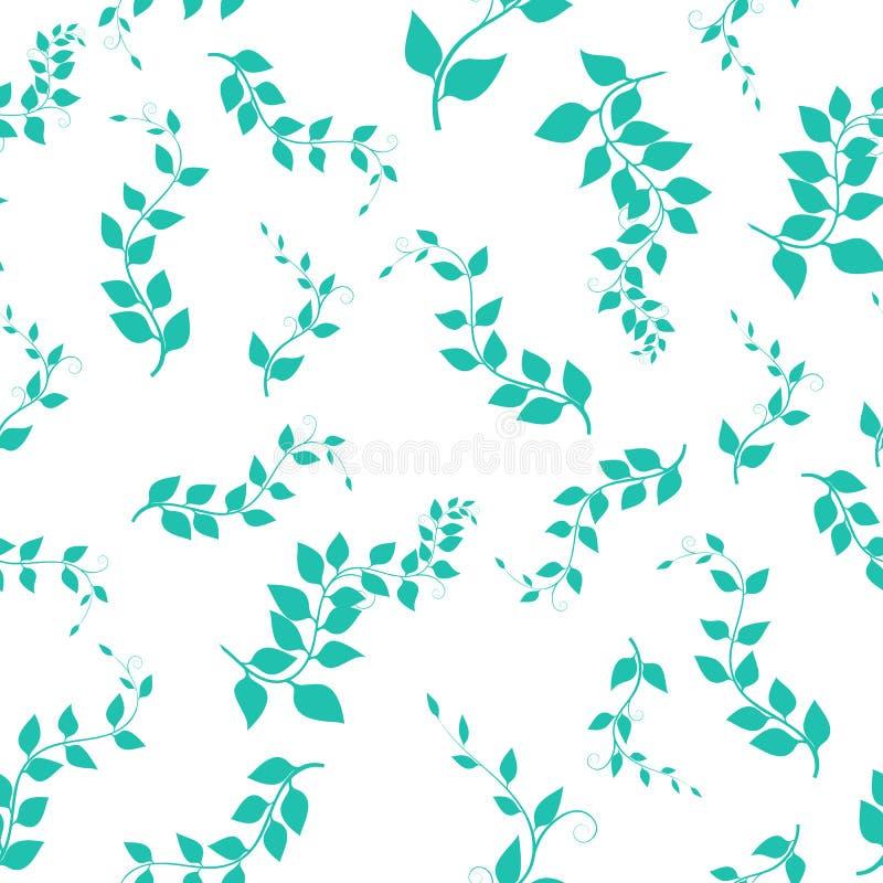 Sömlös bakgrund med filialer, vektorillustration green ris vektor illustrationer