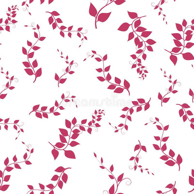 Sömlös bakgrund med filialer, vektorillustration Rosa ris stock illustrationer