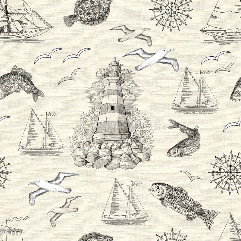 Sömlös bakgrund med fyren, fisken, fiskmåsar och fartyg vektor illustrationer