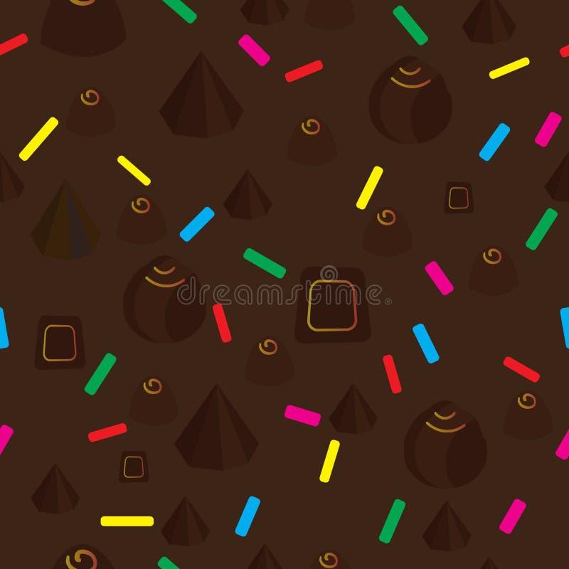 Sömlös bakgrund med godis- och kakagarneringar stock illustrationer