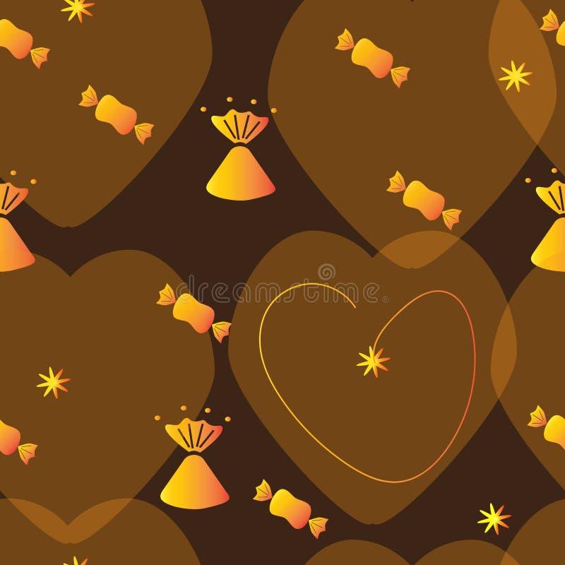 Sömlös bakgrund med godisen i guld- omslag och med hjärtor royaltyfri illustrationer