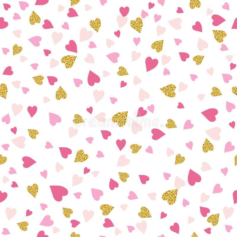 Sömlös bakgrund med guld- och rosa valentinhjärtor royaltyfri illustrationer