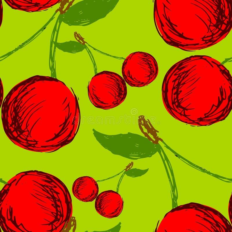 Sömlös bakgrund med hand drog körsbär stock illustrationer