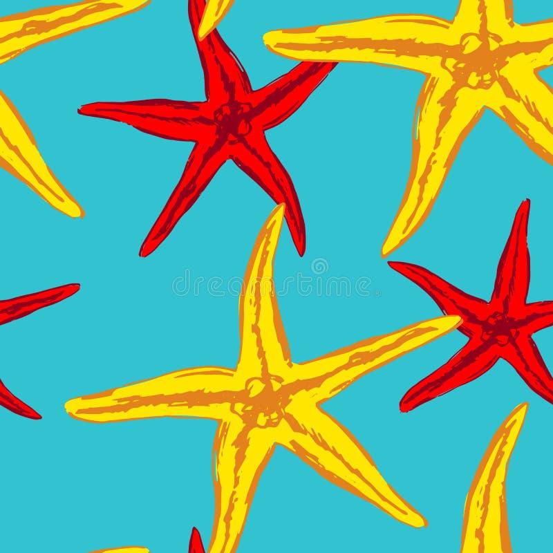 Sömlös bakgrund med havssjöstjärnan royaltyfri illustrationer