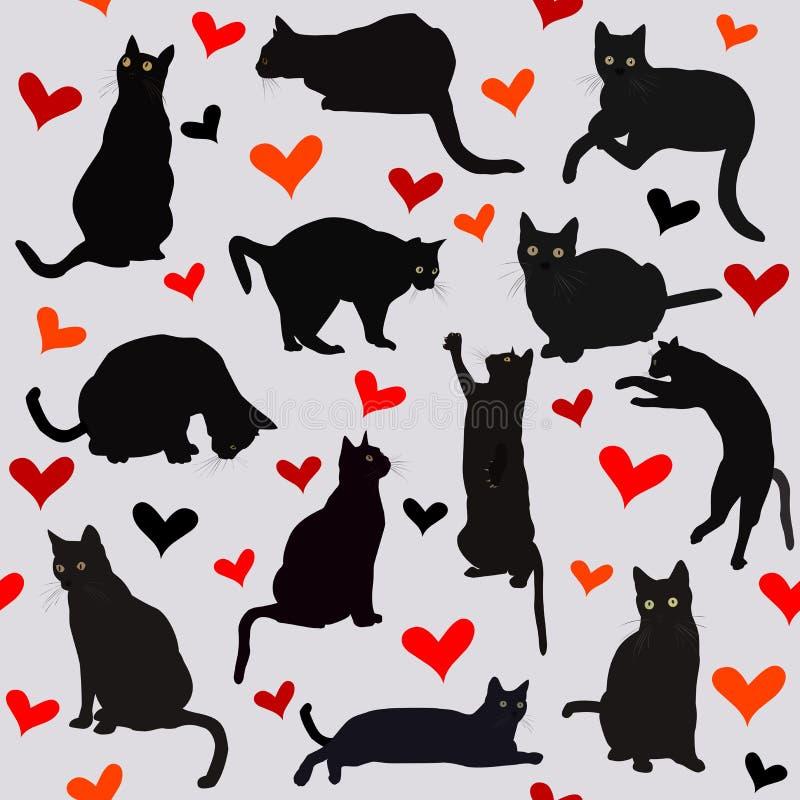 Sömlös bakgrund med hjärtor och svarta katter vektor illustrationer
