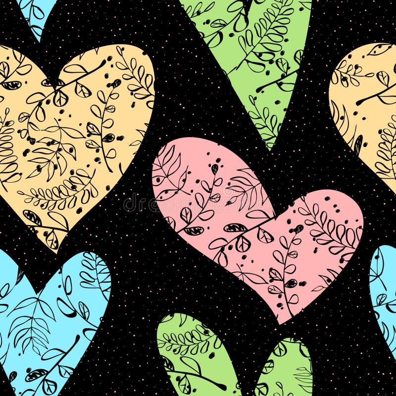 Sömlös bakgrund med hjärtor, sidor, filialer stock illustrationer