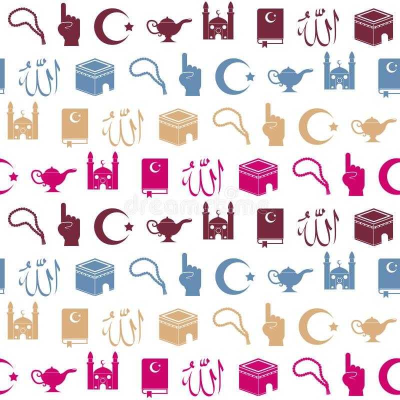 Sömlös bakgrund med islamiska symboler vektor illustrationer