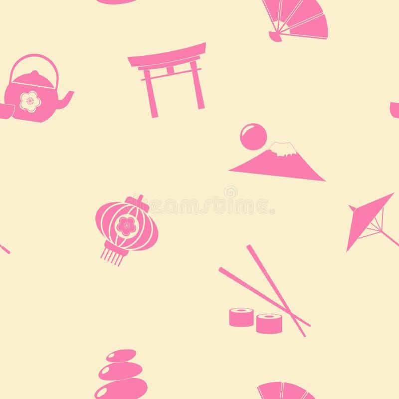 Sömlös bakgrund med japanska symboler stock illustrationer