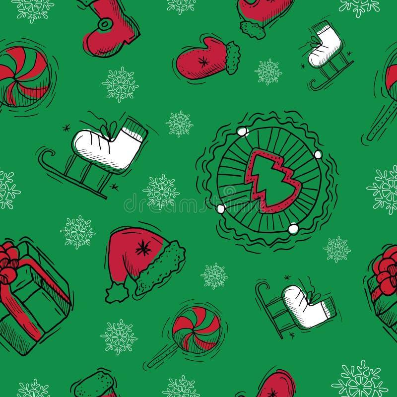 Sömlös bakgrund med julobjekt royaltyfri illustrationer