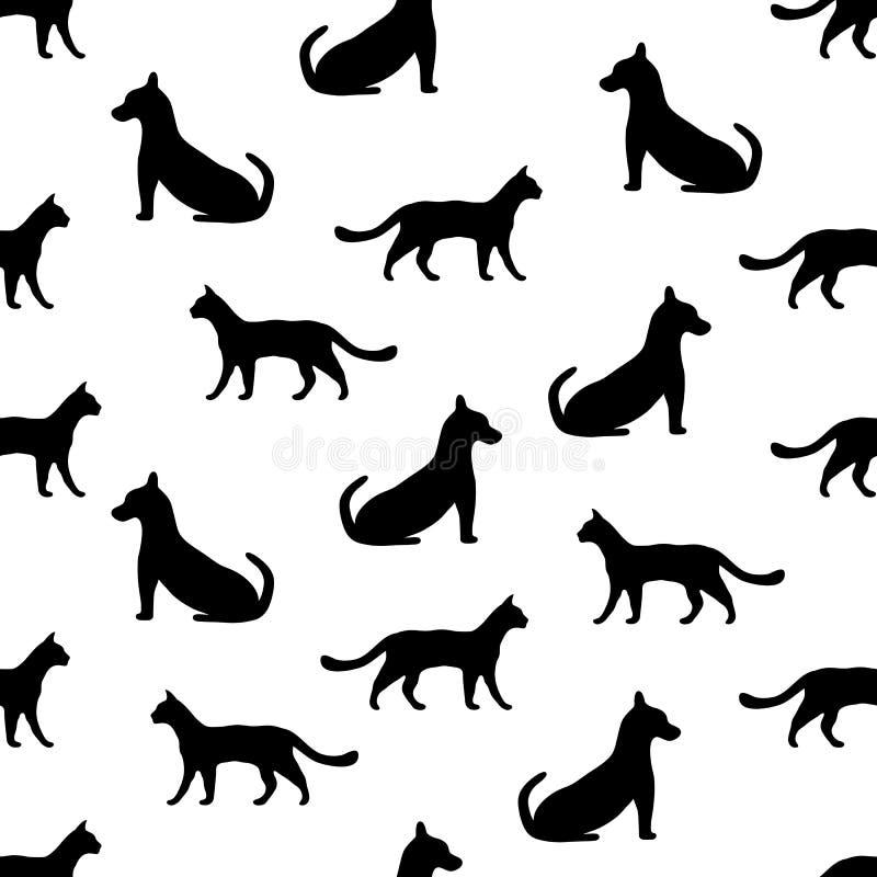 Sömlös bakgrund med katten och hunden royaltyfri illustrationer