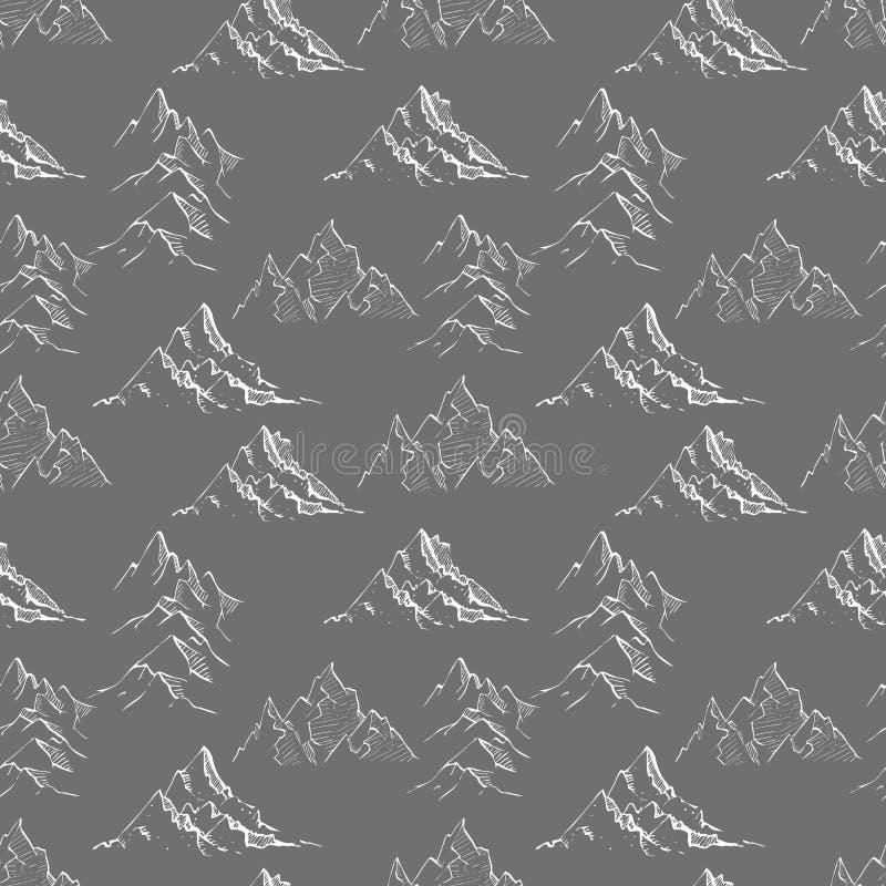 Sömlös bakgrund med klotter skissar berg på svart Kan användas för tapeten, modellpåfyllningar, textilen, webbsida royaltyfri illustrationer