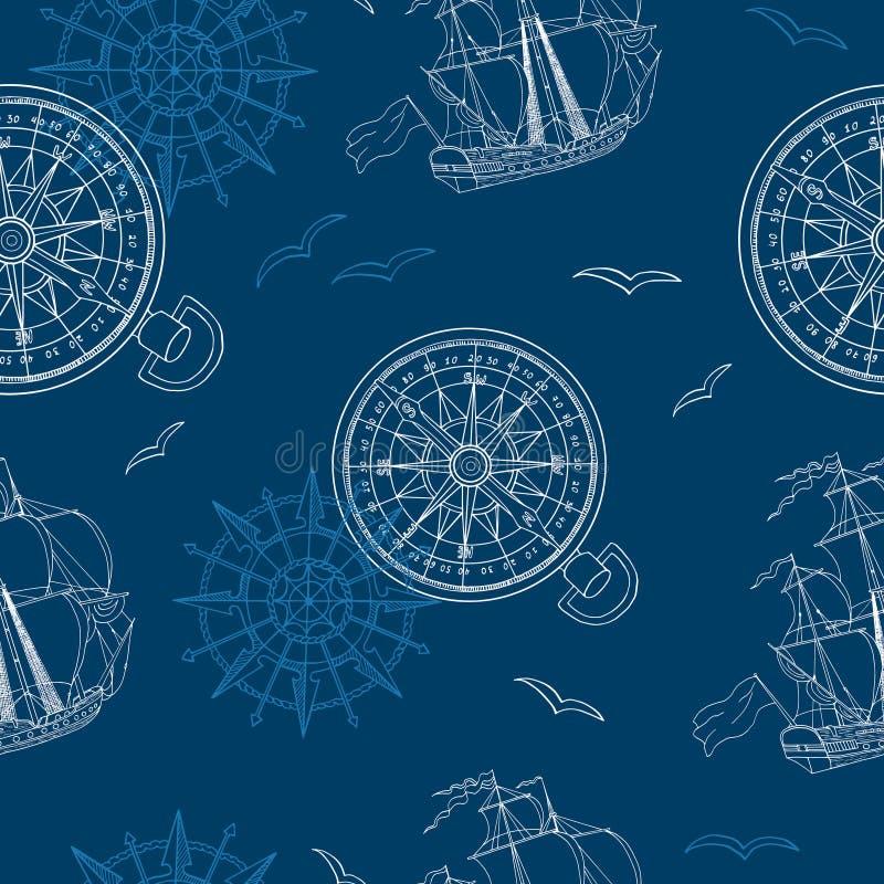 Sömlös bakgrund med kompasset, skeppet och fiskmåsen royaltyfri illustrationer