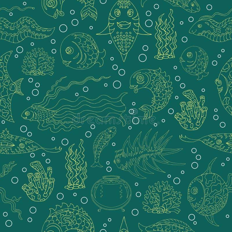 Sömlös bakgrund med konturer av den tropiska fisken stock illustrationer