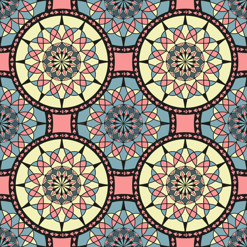 Sömlös bakgrund med konturer av orientaliska mandalas royaltyfri illustrationer