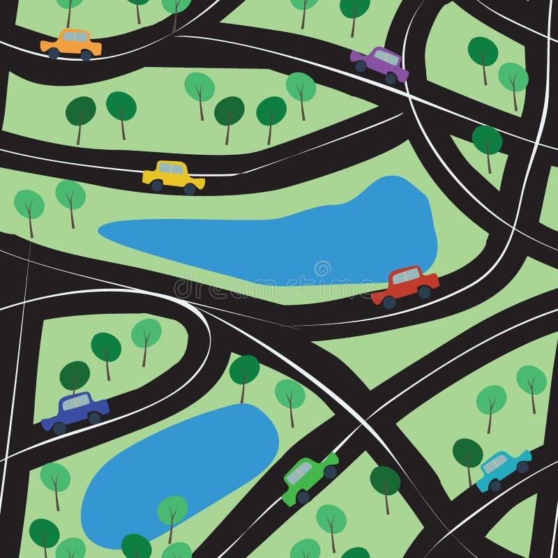 Sömlös bakgrund med leksakbilar, vägar och träd stock illustrationer