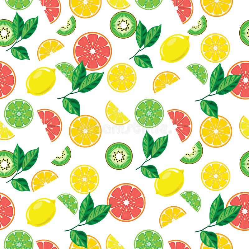 Sömlös bakgrund med ljusa frukter vektor illustrationer
