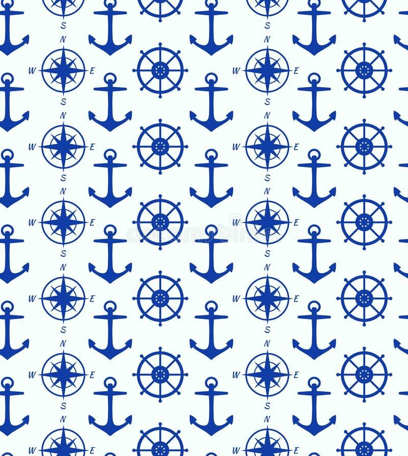 Sömlös bakgrund med maritima symboler vektor illustrationer