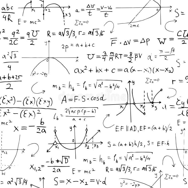 Sömlös bakgrund med matematikformler och diagram på vit royaltyfri illustrationer
