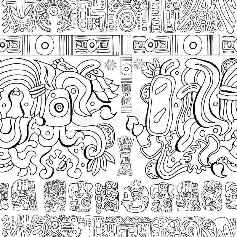 Sömlös bakgrund med mayan modeller och symboler på vit vektor illustrationer