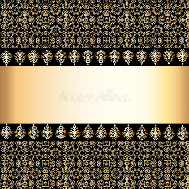 Sömlös bakgrund med musikbandet och ram med den guld- modellen (en) stock illustrationer