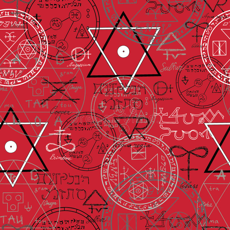 Sömlös bakgrund med mystikersymboler på rött vektor illustrationer