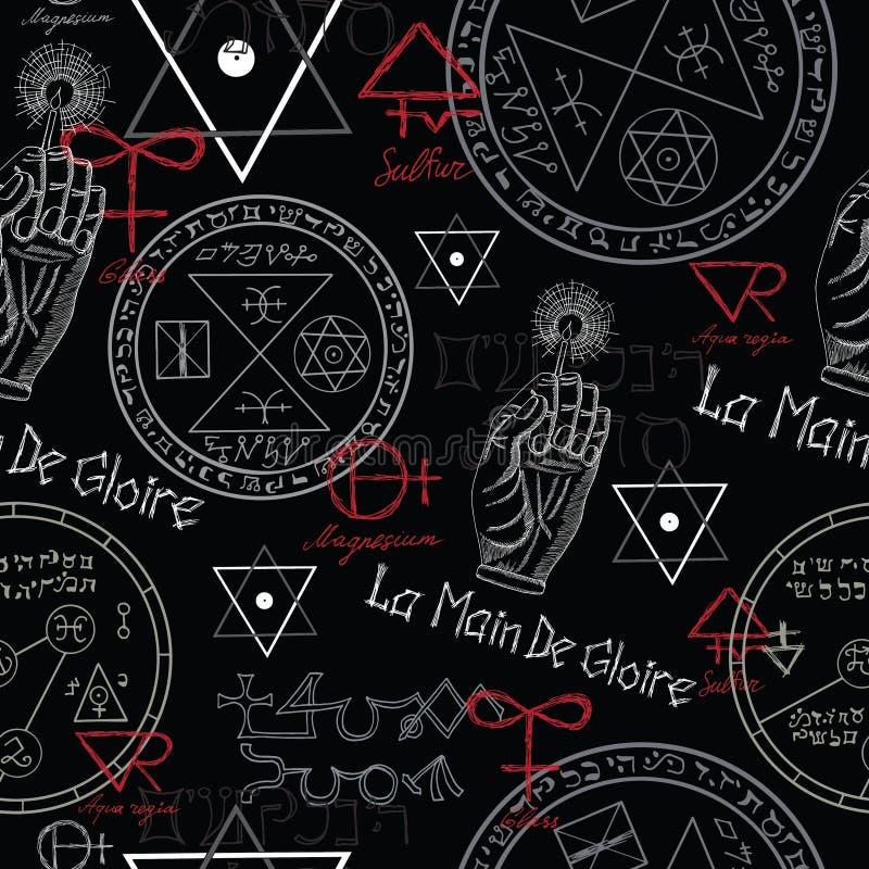 Sömlös bakgrund med mystikersymboler på svart royaltyfri illustrationer