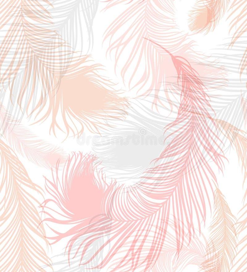 Sömlös bakgrund med pastell-färgade fjädrar av fågeln stock illustrationer