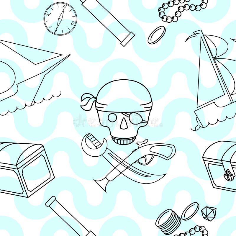 Sömlös bakgrund med piratkopierar temabeståndsdelar arkivbild
