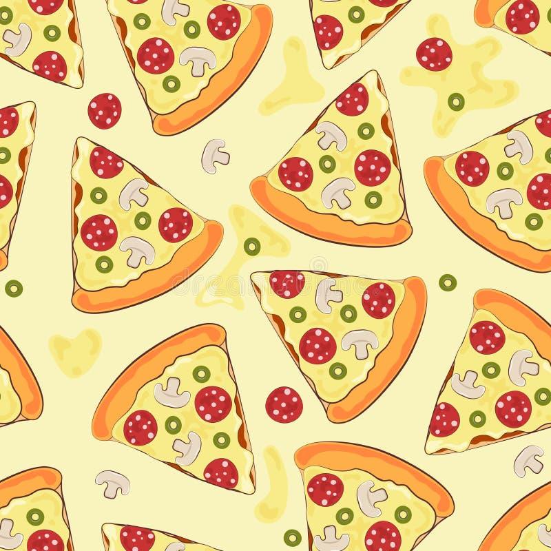 Sömlös bakgrund med pizza Pizza också vektor för coreldrawillustration stock illustrationer