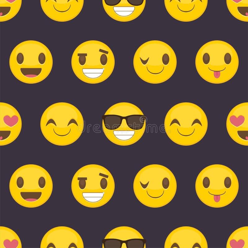 Sömlös bakgrund med positiva lyckliga smileys royaltyfri illustrationer