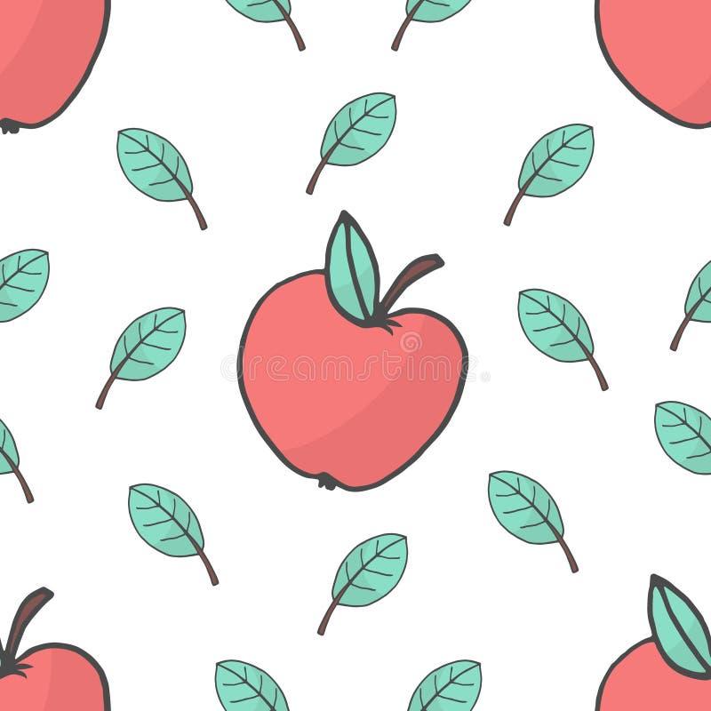 Sömlös bakgrund med röda äpplen och sidor också vektor för coreldrawillustration vektor illustrationer