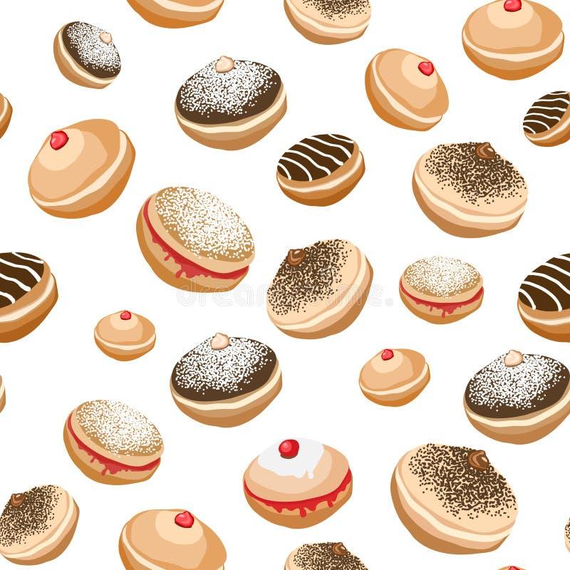 Sömlös bakgrund med söta donuts royaltyfri illustrationer