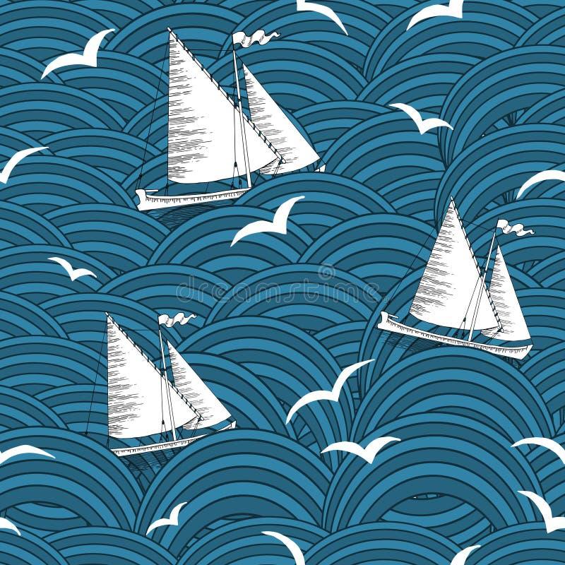 Sömlös bakgrund med skepp i vågor vektor illustrationer