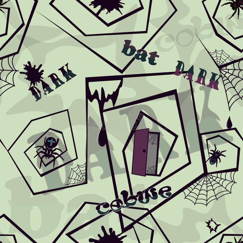 Sömlös bakgrund med spindelnät och spindlar - mörka 2 arkivbilder