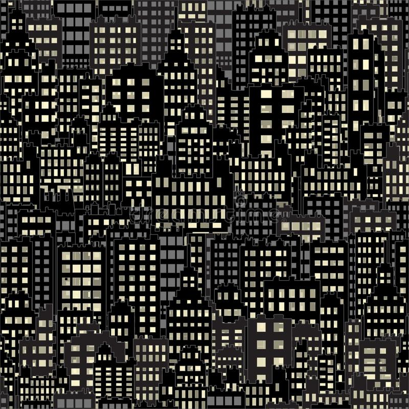 Sömlös bakgrund med stadsbyggnadsnatt tänder fönstret, svart och mörker royaltyfri illustrationer