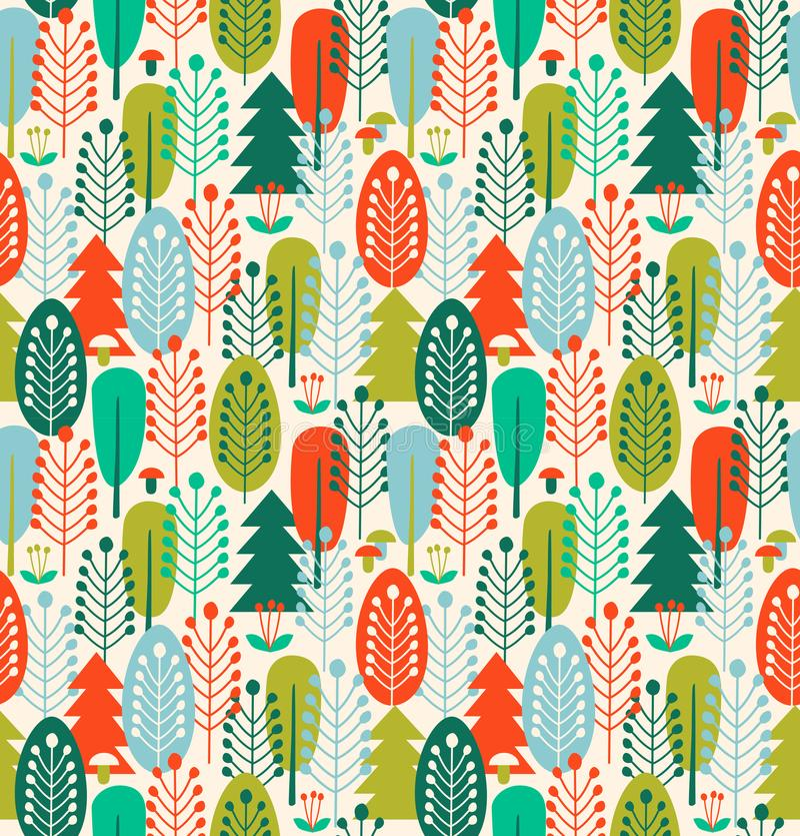 Sömlös bakgrund med stiliserade träd Nordisk skogmodell stock illustrationer
