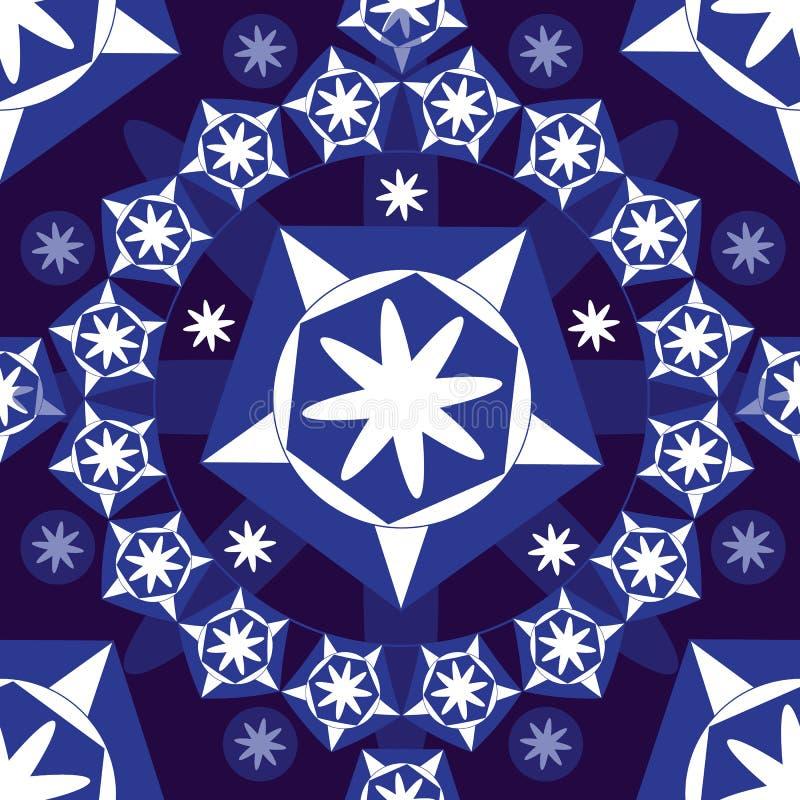 Sömlös bakgrund med stjärnor som är vita på blå bakgrund vektor illustrationer