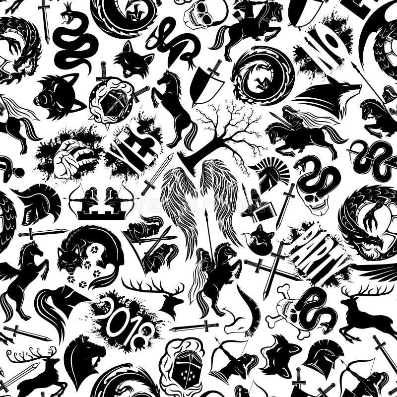 Sömlös bakgrund med svart tecken vektor illustrationer