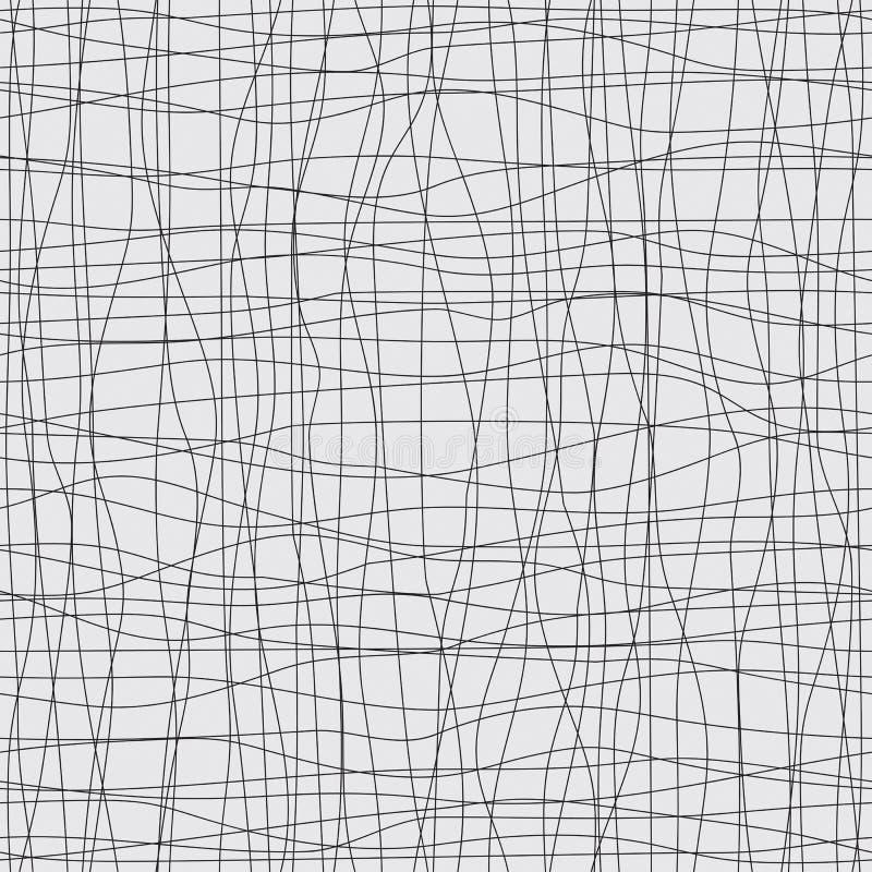 Sömlös bakgrund med svartlinjer och kurvor stock illustrationer
