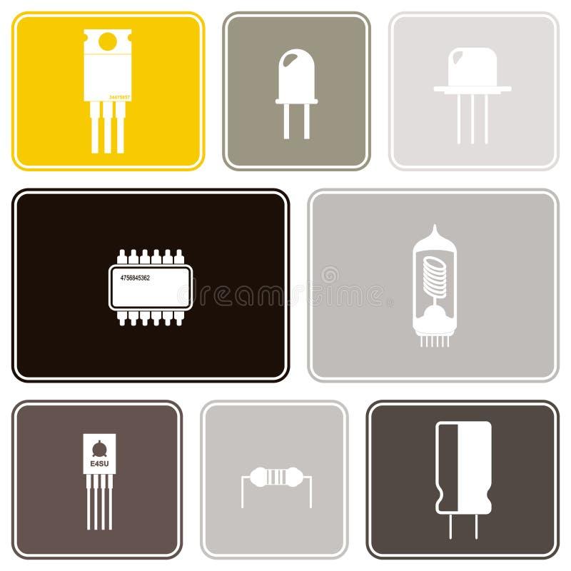 Sömlös bakgrund med symboler för elektroniska delar stock illustrationer