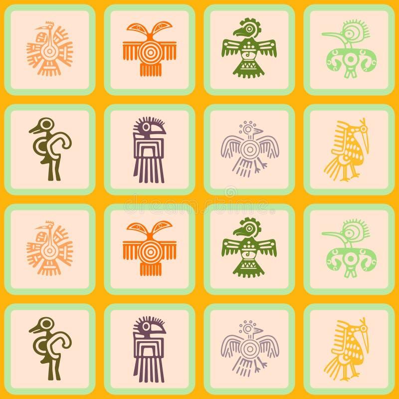 Sömlös bakgrund med tecken för indianrelikdumskallar royaltyfri illustrationer