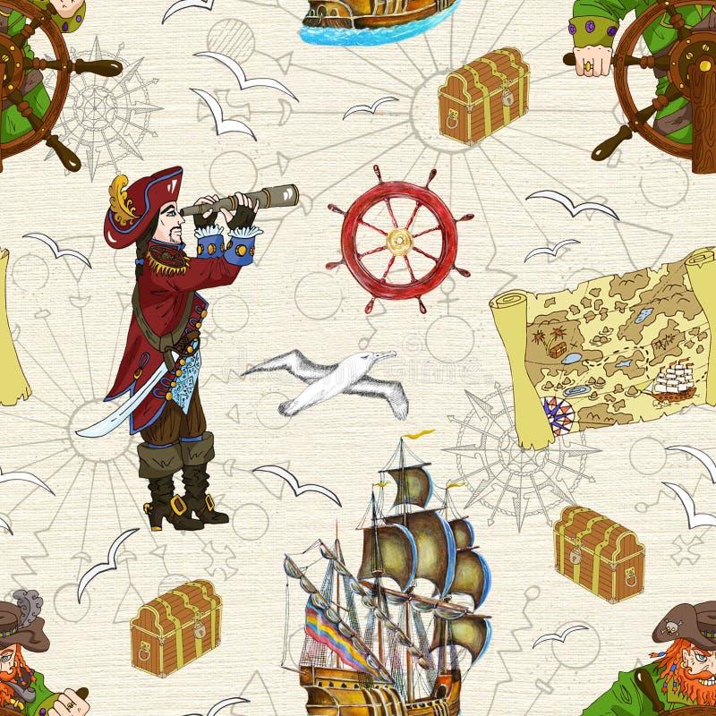 Sömlös bakgrund med två piratkopierar kaptener och uppskattar översikten royaltyfri illustrationer