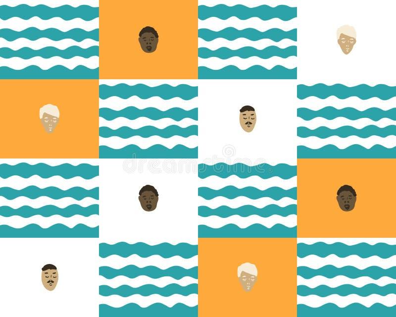 Sömlös bakgrund med vågor och folk royaltyfri illustrationer