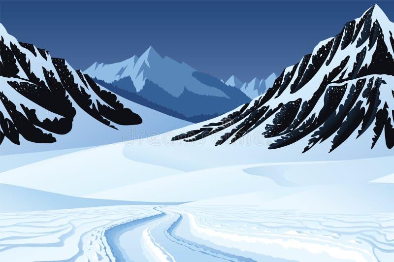 Sömlös bakgrund med vinterlandskap, berg, snö royaltyfri illustrationer