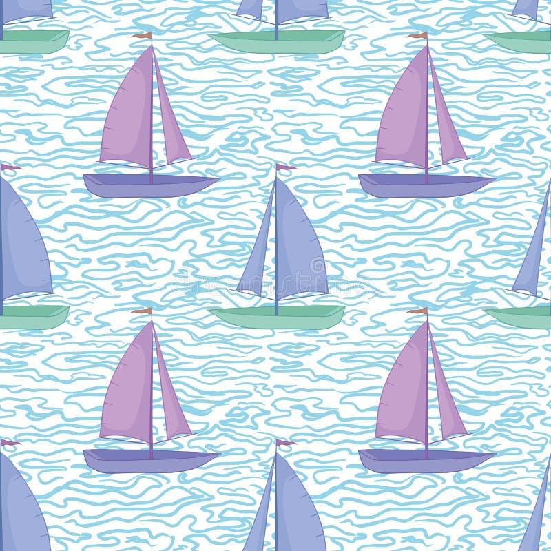 Sömlös bakgrund, segelbåtar och vågor stock illustrationer