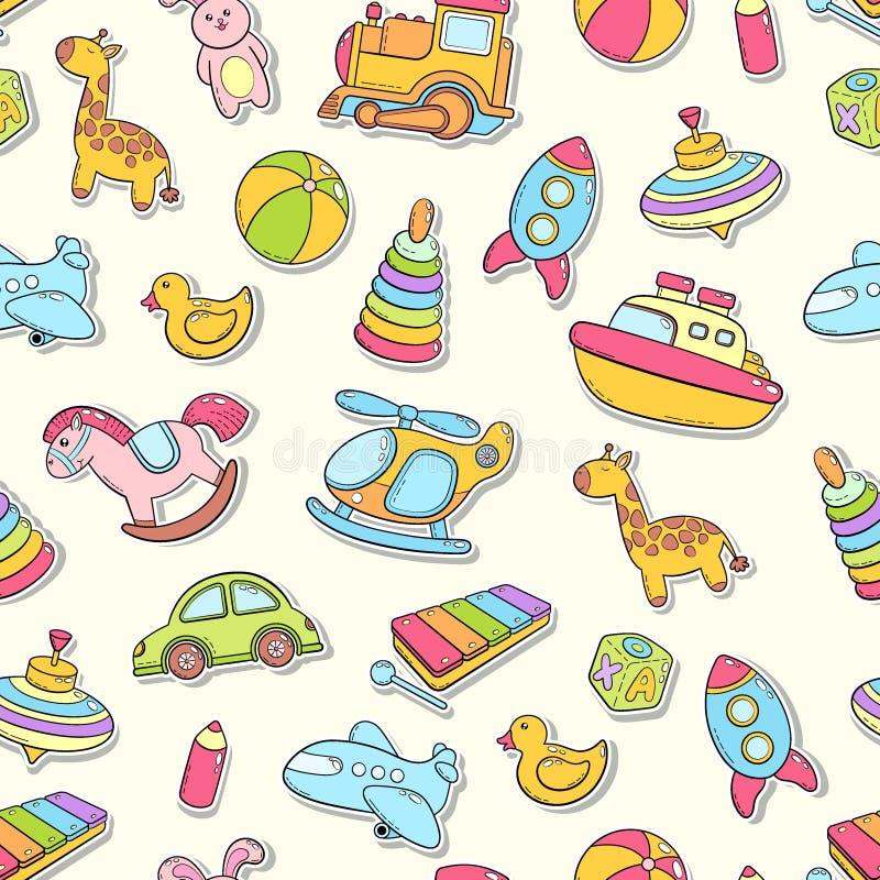 Sömlös bakgrund, textur, bakgrund, modell, tapet med leksaker för barntecknad filmklotter Bildande lekar för ungar stock illustrationer