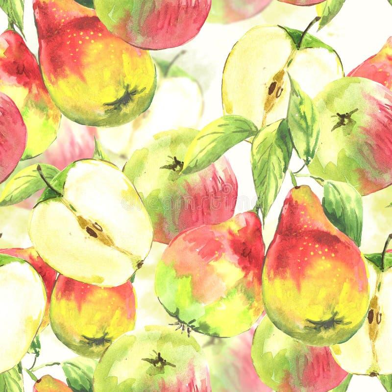Sömlös bakgrund, vattenfärgpäron och äpplen royaltyfri illustrationer