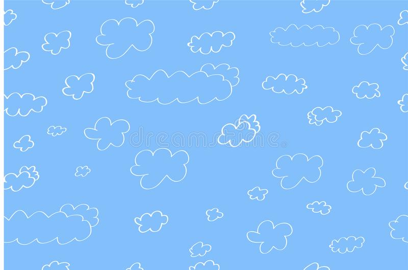 Sömlös bakgrund: Vitt moln, för bakgrund, räkning, inpackningspapper eller annat vektor illustrationer